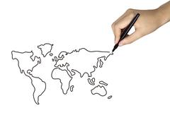 global map drawn by human hand - stock photo
