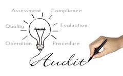 Audit word and bulb icon drawn by human hand Stock Photos