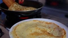 Making Pancake, Crepes on Frying Pan. Closeup Stock Footage