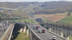 Medway Viaduct on the M2 Motorway in Kent Stock Footage