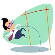 Businessman pole vault height business theme sports - stock illustration