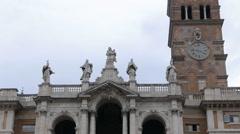 Basilica of St Mary Major. Zoom. Rome, Italy Stock Footage