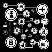 basic icon set for hotel and travel - stock illustration