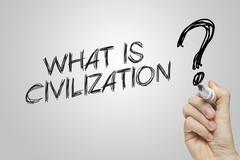 Hand writing what is civilization Stock Photos