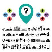 Stock Illustration of direction and traveler explorer icon