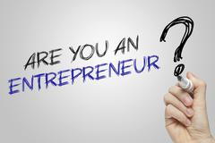 Hand writing are you an entrepreneur - stock photo