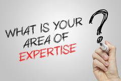 Hand writing what is your area of expertise - stock photo