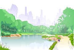 green park in city center pond trees and road path sketch - stock illustration