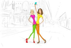 Stock Illustration of couple girls friends taking self photo picture with cell phone, young woman