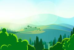 Stock Illustration of summer green mountains tree valley landcape vector