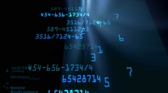 Information transfer digital numbers with blue glow - stock footage