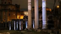 Roman Forum. Night. Rome, Italy Stock Footage