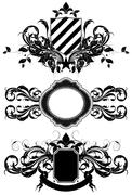 set of ornamental shields - stock illustration