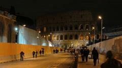 Rome by night. Via dei Fori Imperiali. Rome, Italy Stock Footage