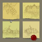 Set of wine elements Stock Illustration