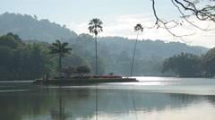 Little island in the middle of the lake in Colombo Stock Footage