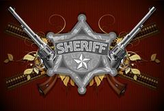 sheriff star with guns - stock illustration