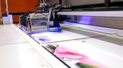 Large format UV printer Stock Footage