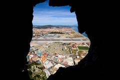 View from Inside of the Gibraltar Rock - stock photo