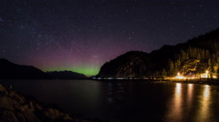 Aurora glow above Squamish, BC Stock Footage