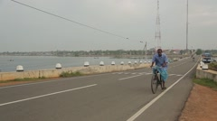 Riding bike and motorcycle in Sri Lanka Stock Footage