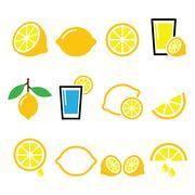 Lemon, lime - food icons set Stock Illustration