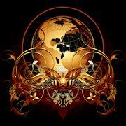 World with ornate Stock Illustration
