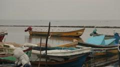 Birds sitting on boats in Sri Lanka Stock Footage