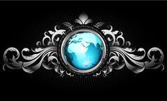 world with ornate frame - stock illustration