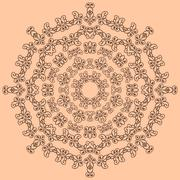 Round brown ornate pattern on beige background Stock Illustration