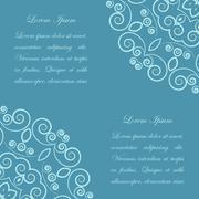 Blue background with ornate pattern - stock illustration