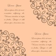 Beige background with brown ornate pattern - stock illustration