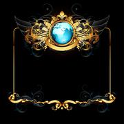 Stock Illustration of world with ornate frame