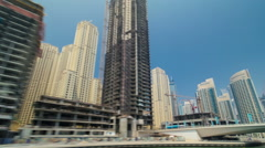 Boat trip on the ship-restaurant by the channel in Dubai Marina. Dubai, UAE Stock Footage