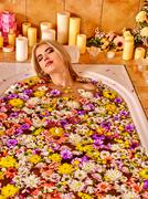 Woman at luxury spa Stock Photos