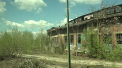 4k Old damaged building and city traffic near station travel shot Stock Footage