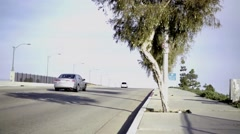 Street at the bridge above the freeway Stock Footage