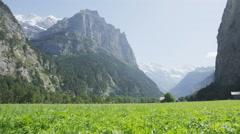 Landscape Swiss Alps valley nature in Switzerland Europe Stock Footage