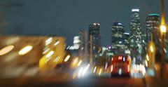 Night traffic in city of Los Angeles abstract defocused tilt shift 4K background - stock footage