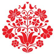Kalocsai red embroidery - Hungarian floral folk pattern with birds Stock Illustration