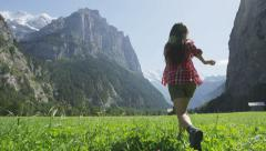 Free happy woman running in joyful freedom nature - stock footage