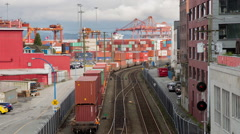 Train moving containers at shipping terminal Arkistovideo