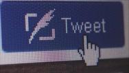Stock Video Footage of Social Media Macro Close Up: Static ECU clicking Tweet button