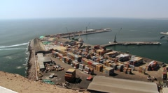 Aerial view to the sea port of the Arica city, Chile. Stock Footage