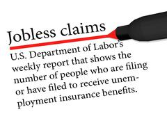 Term underlined in red color by a pen of the Jobless Claims Stock Illustration