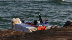 View of restaurant table  served at sand beach Stock Footage