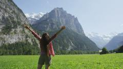 Free happy woman with arms outstretched in freedom excited of joy happiness Stock Footage