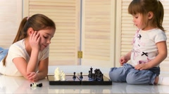 Children playing chess - stock footage