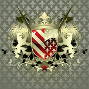 ornamental shield - stock illustration