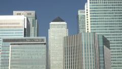 Canary Wharf skyline, finance district, banks, London, England Stock Footage